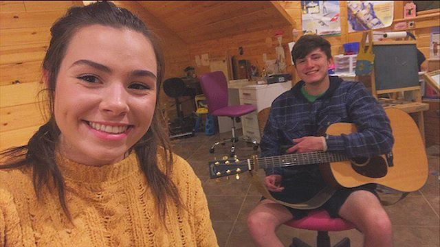 me and austin are working on some new songs!!! y'all be ready to see them on facebook and youtube!!!